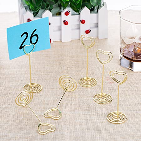 amazoncom bememo gold heart shape photo holder stands table number holders place card paper menu clips for weddings 12 pack kitchen u0026 dining