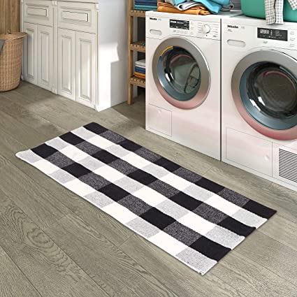 Kimode Cotton Plaid Rug Hand Woven Buffalo Checkered Floor Mats Washable Carpet For Porch Doormat Kitchen Rugs Black White 24 X 35