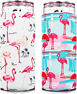 Skinny Can Coozie [ 2 Pack ] Slim Can Cooler for Slim Beer & Hard Seltzer, Skinny Beer Cans Coolie Skinny Insulators, Claw Can Cooler Sleeve Flamingo