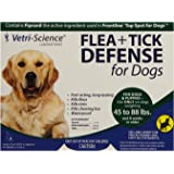 VetriScience Laboratories Flea + Tick Defense for 45 to 88-Pound Dogs and Puppies, 3 Doses
