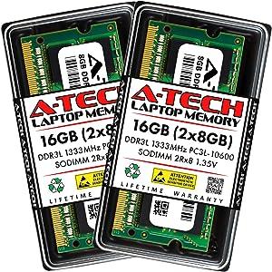 A-Tech 16GB (2x8GB) DDR3/DDR3L 1333MHz SODIMM PC3L-10600 2Rx8 Dual Rank 204-Pin CL9 1.35V Non-ECC Unbuffered Notebook Laptop RAM Memory Upgrade Kit