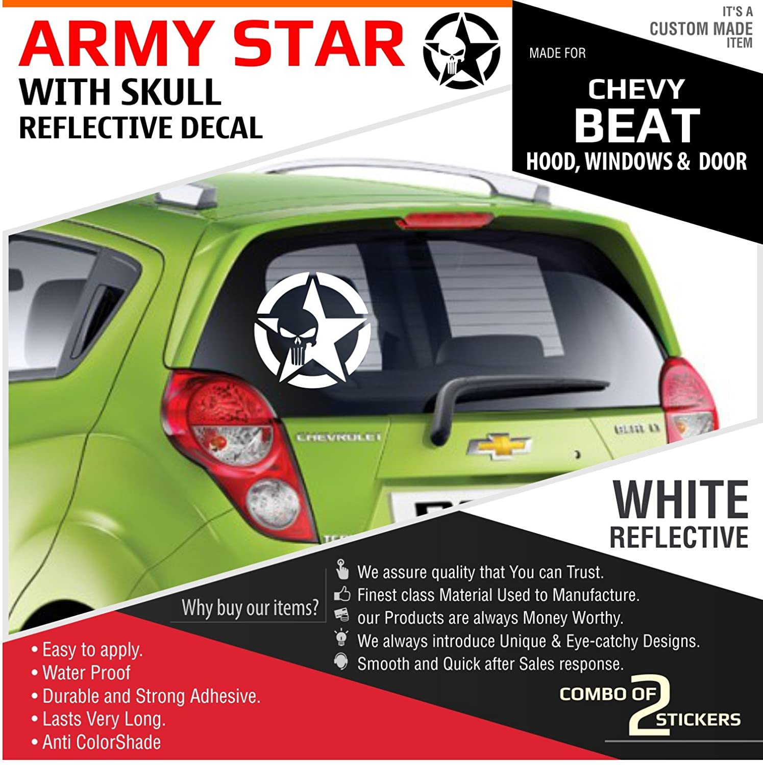 Army star with skull reflective decal sticker amazon in car motorbike