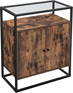 VASAGLE Entryway Console Table, Storage Cabinet, Sideboard with Tempered Glass Surface, Living Room, Office, Kitchen, Stable Steel Frame, Industrial Design, Rustic Brown and Black ULSC013B01