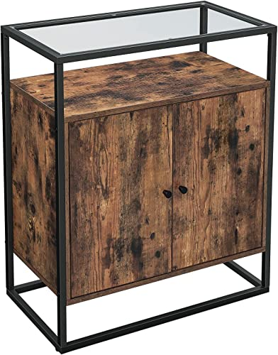 VASAGLE GLATAL Sideboard, Storage Cabinet with Tempered Glass Surface, Living Room, Hallway, Office, Kitchen, Stable Steel Frame, Industrial Design, Rustic Brown and Black ULSC013B01