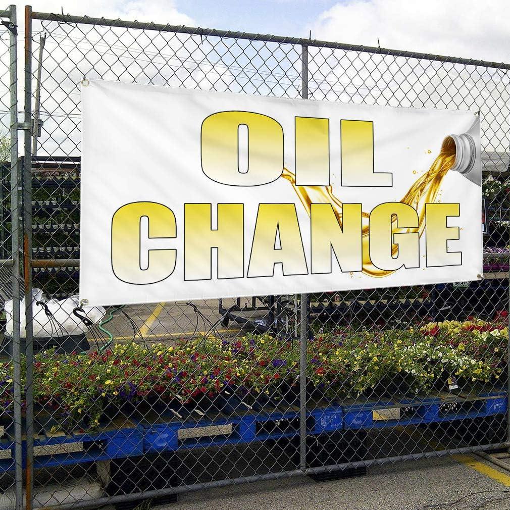 Set of 2 28inx70in Vinyl Banner Sign Oil Change White Yellow2 Business Oil Marketing Advertising White Multiple Sizes Available 4 Grommets