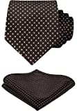 HISDERN Wedding Ties for Men Polka Dot Tie Handkerchief Woven Classic Men's Necktie & Pocket Square Set