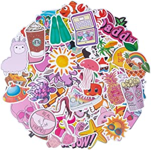 Cute VSCO Girl Stickers (100 Pcs) for Water Bottles, Trendy Waterproof Vinyl Decals for Laptop Skateboard Guitar Bike Luggage and Cellphone, Kawaii Pink Stickers for Girls & Teens