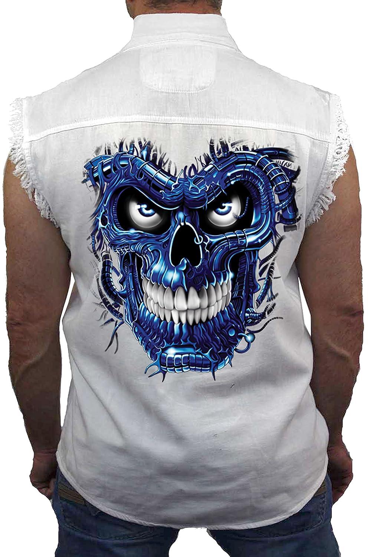 SHORE TRENDZ Mens Sleeveless Denim Shirt Blue Robotic Skull Biker