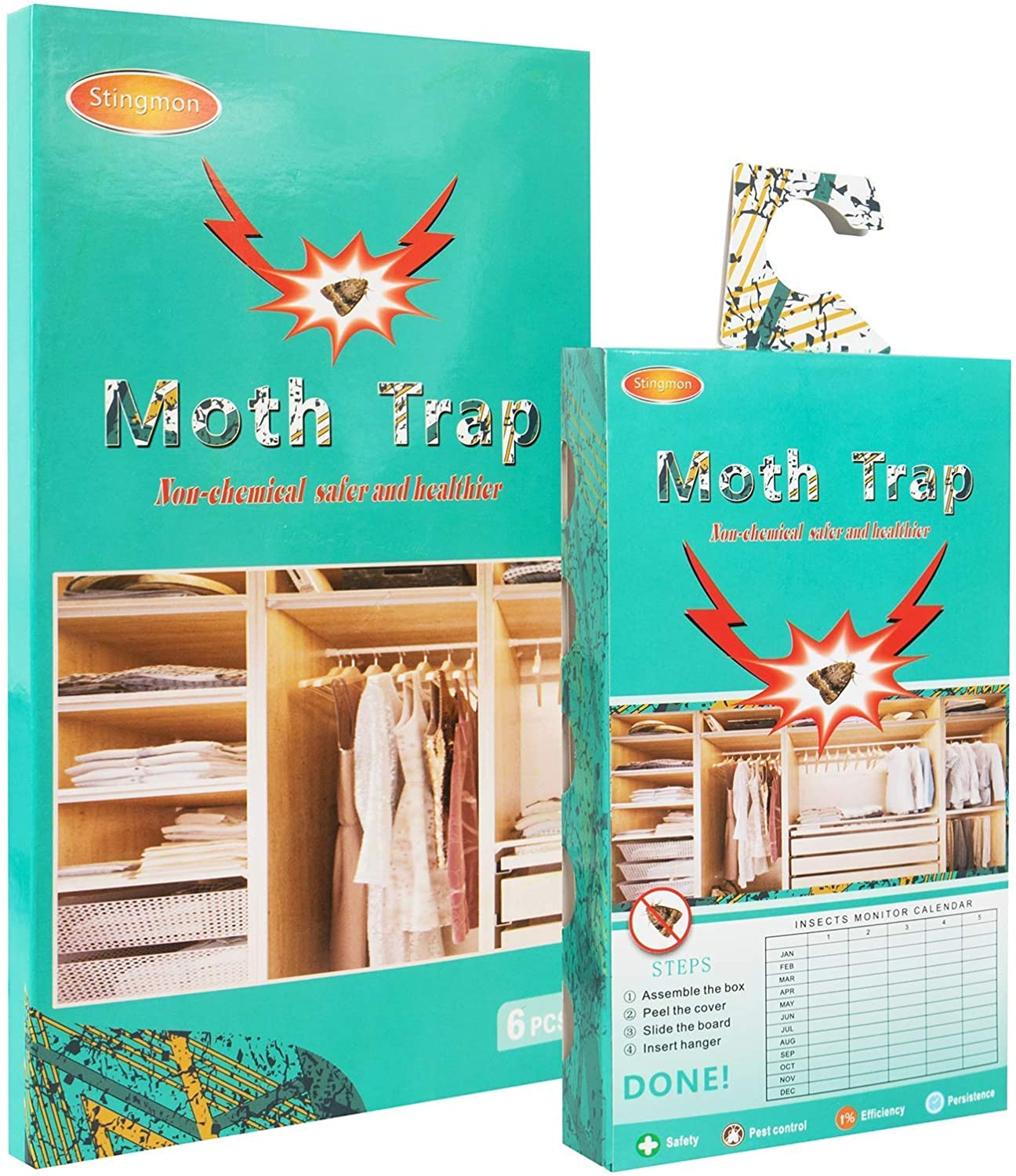 6 PCS Sticky Pantry Moth Traps, Moths Killer Indoor for Food and Cupboard Moth, Non-Toxic Safe Sticky Glue Trap