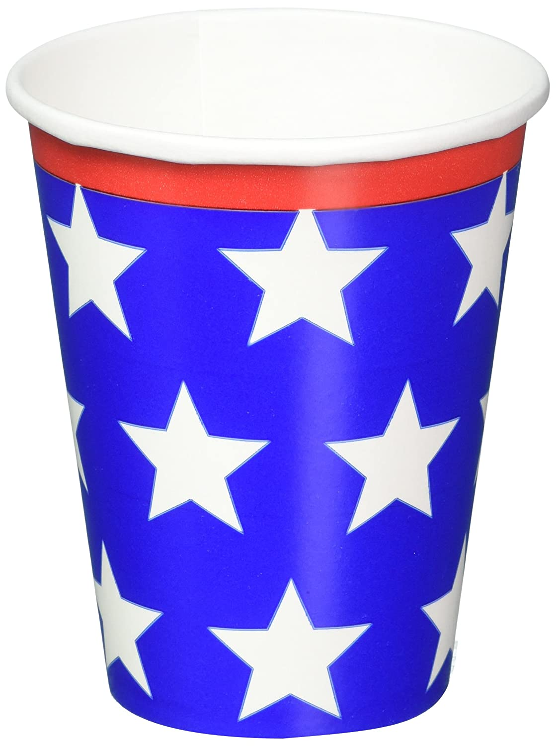 7396561 18 Ct TradeMart Inc 9 oz. White and Blue Stars Party Cups Red