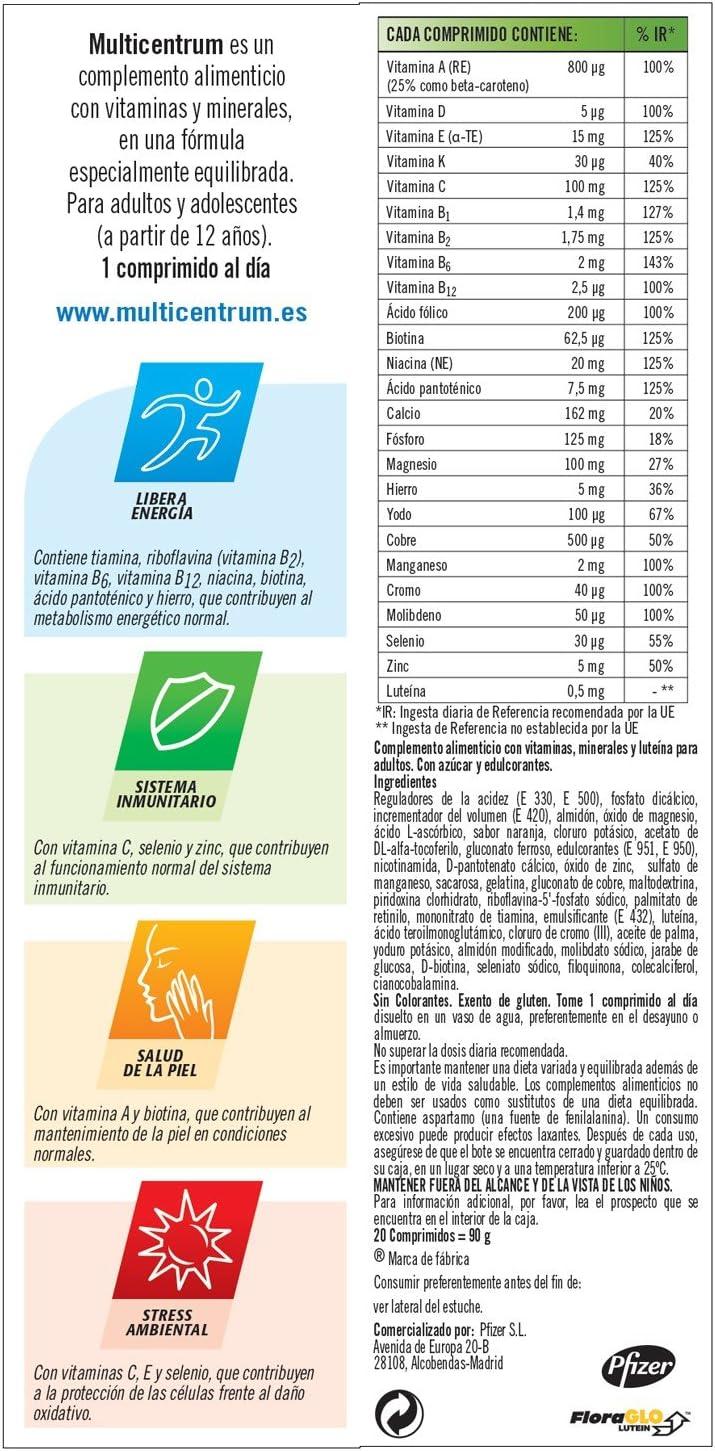 MULTICENTRUM, Complemento alimenticio con 13 vitaminas, 11 minerales y luteína, para adultos y adolescentes a partir de 12 años, con sabor a naranja - 20 Comprimidos efervescentes (F000004436): Amazon.es: Salud y cuidado personal