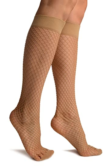 649b1597213d9b Image Unavailable. Image not available for. Color: Beige Fishnet With Wide  Top & Opaque Toe Knee High Socks ...