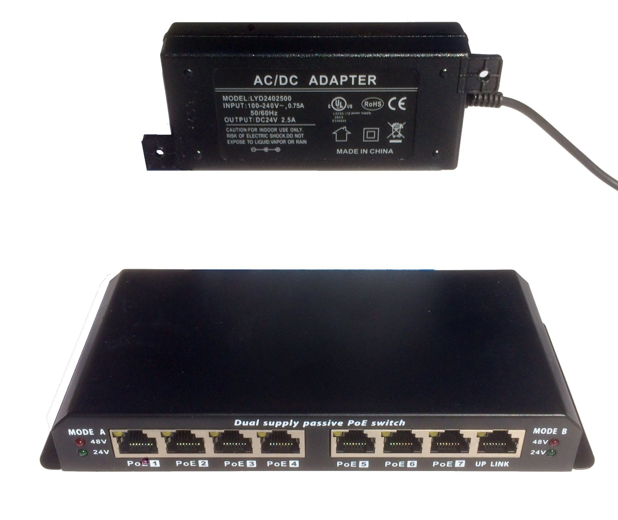 8 port Ethernet switch with Passive PoE on 7 ports -WS-POES-8-7-24v60w - power over ethernet for Ubiquiti, Mikrotik and OpenMesh with 24 volt supply at 60 watts, for any 24v device