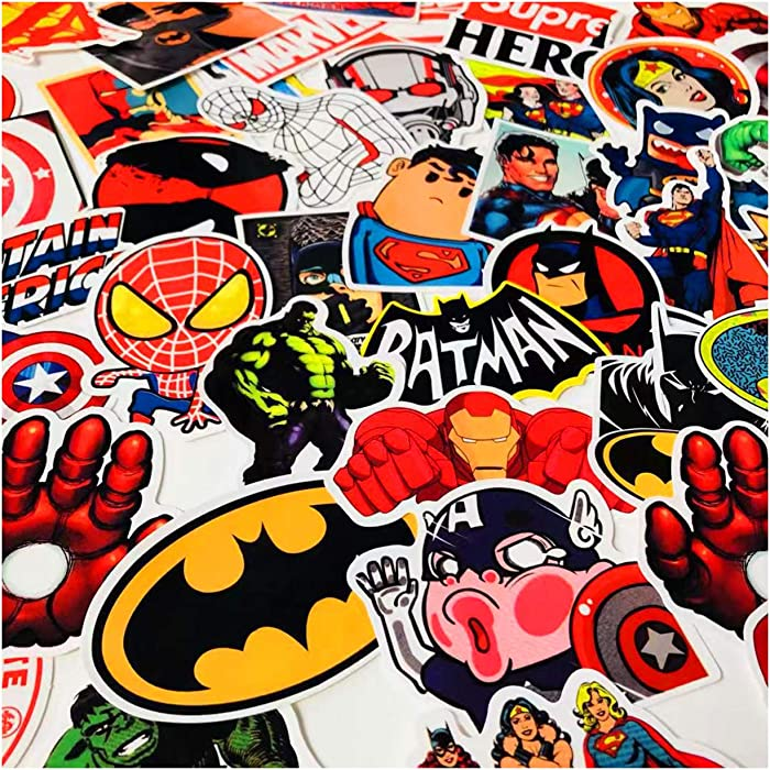 Pauplian 50PCS Marvel DC Hero Superman Spider-Man Iron Man Waterproof Vinyl Stickers Personalized Computer, Trunk, Luggage, Skateboard Stickers (Marvel DC)