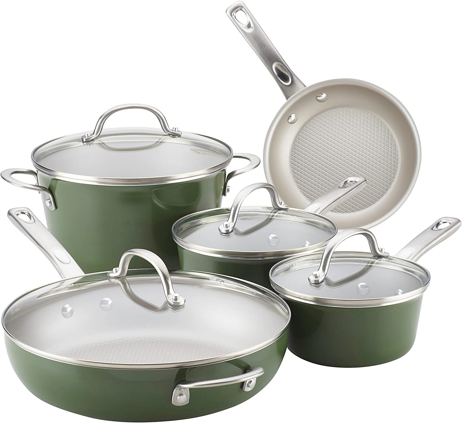 Ayesha Curry Home Collection Nonstick Cookware Pots and Pans Set, 9 Piece, Basil Green