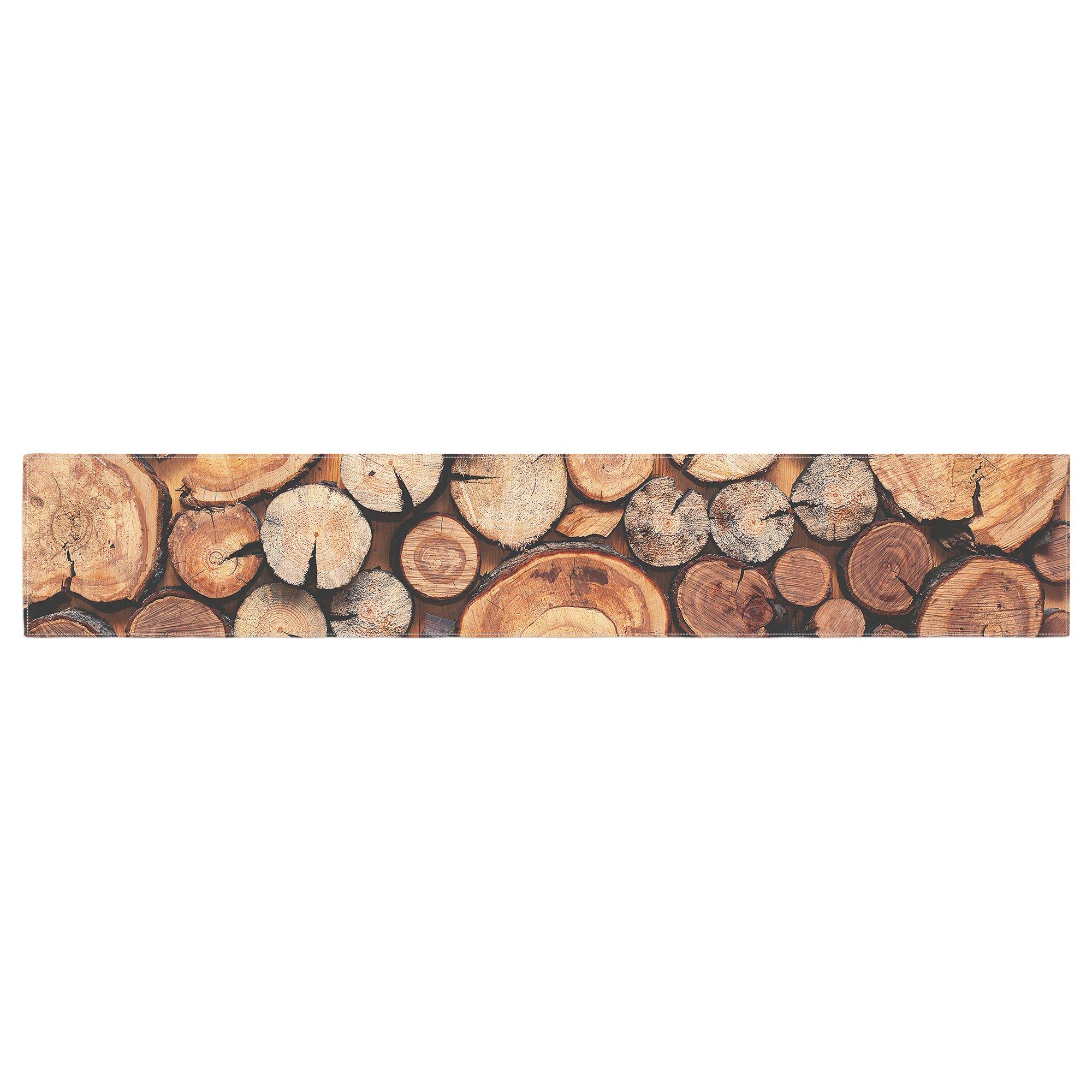 KESS InHouse Susan Sanders ''Rustic Wood Logs'' Brown Tan Table Runner, 16'' x 90'' by Kess InHouse (Image #1)