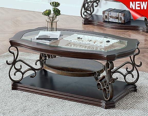 DANGRUUT Luxurious Glass Top Coffee Table