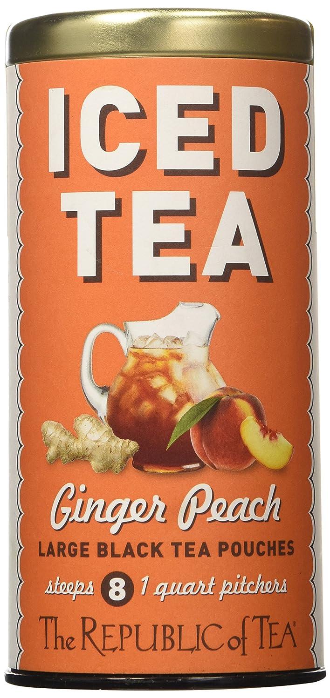 The Republic of Tea Ginger Peach Black Iced Tea, 8 Large Iced Tea Pouches / 8 Quarts, Award-Winning Premium Black Tea