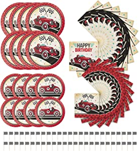 Creative Converting Vintage Race Car Birthday Bundle | Dinner & Dessert Plates, Luncheon Napkins, Picks | Great for Kid's Birthday Celebration, Car-Themed Event