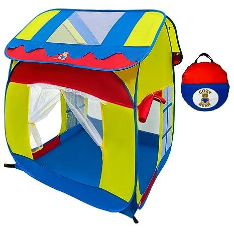 Cozy Bear Kids Playhouse Pop Up Tent For Indoor Outdoor Fun
