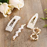 Pearls Hair Clips for Women for Girls Decorative Hair Accessories for Wedding Bridal Bridesmaid Faux Beauty Snap Clips Jewelry Headpiece Gold Fashion Styles