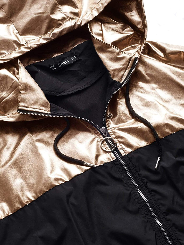 Verdusa Womens Casual Drawstring Colorblock Zip Up Hoodie Pocket Jacket