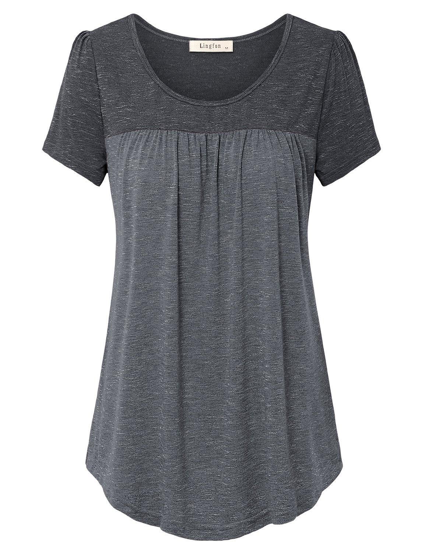 Lingfon Women's Short Sleeve Pleated Front Stitching Tunic Shirt Top(XXL,Black)