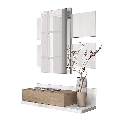 Habitdesign Recibidor con cajón y Espejo, Roble Canadian y Blanco Brillo, 75 x 116 x 29 cm