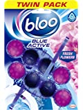 Bloo Solid Rim Toilet Cleaner Actibe Blue Flower Twin Pack - 2x50g