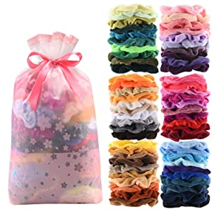 60 Pcs Premium Velvet Hair Scrunchies Hair Bands for Women or Girls Hair Accessories with Gift Bag,Great Gift fo Holiday Seasons