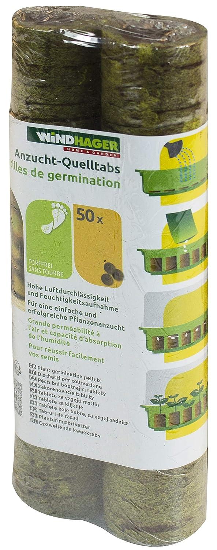 Windhager Anzucht-Quelltabs für erfolgreiche Pflanzenanzucht, mit feinmaschigem Netz, 50 Stück, torffrei, braun, 3,5 x 7,2 x 19,7 cm, 06852