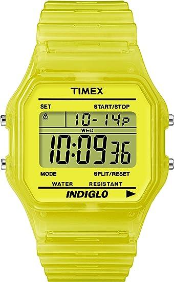 Timex T2N808D7 - Reloj digital de cuarzo unisex con correa de resina, color amarillo: Amazon.es: Relojes
