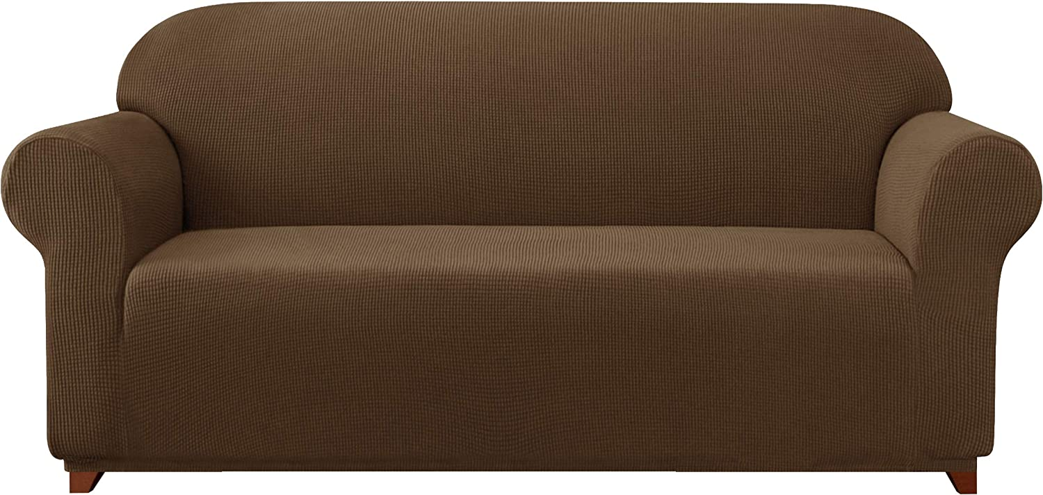 subrtex Sofa Cover 1-Piece Stretch Couch Slipcover Soft Couch Cover Washable Furniture Protector for Pets, Jacquard Fabric Small Checks(Coffee,Large)