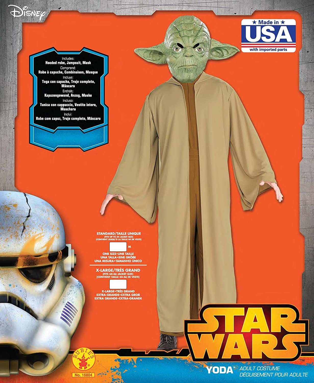 Amazon.com: Disney Star Wars Yoda Adult Costume: Clothing