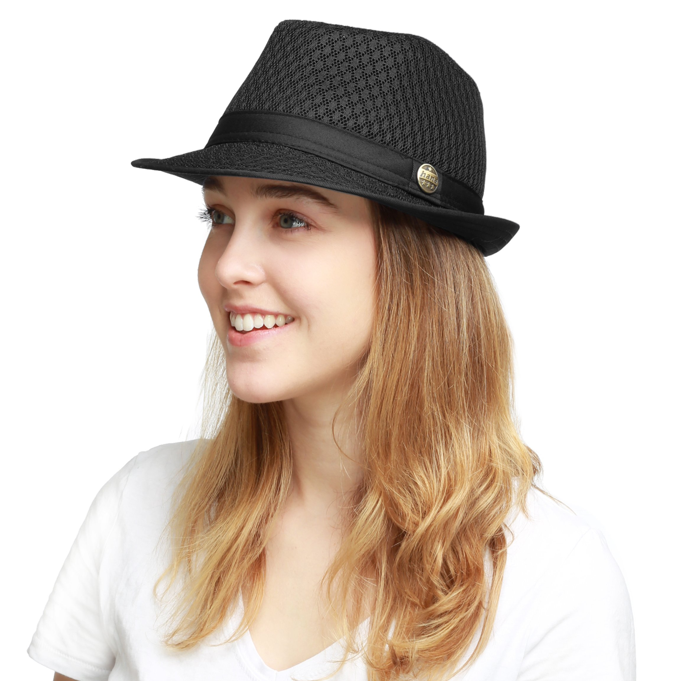 THE HAT DEPOT 200G1015 Classic Cool Soft Mesh Fedora hat (S/M, Black)