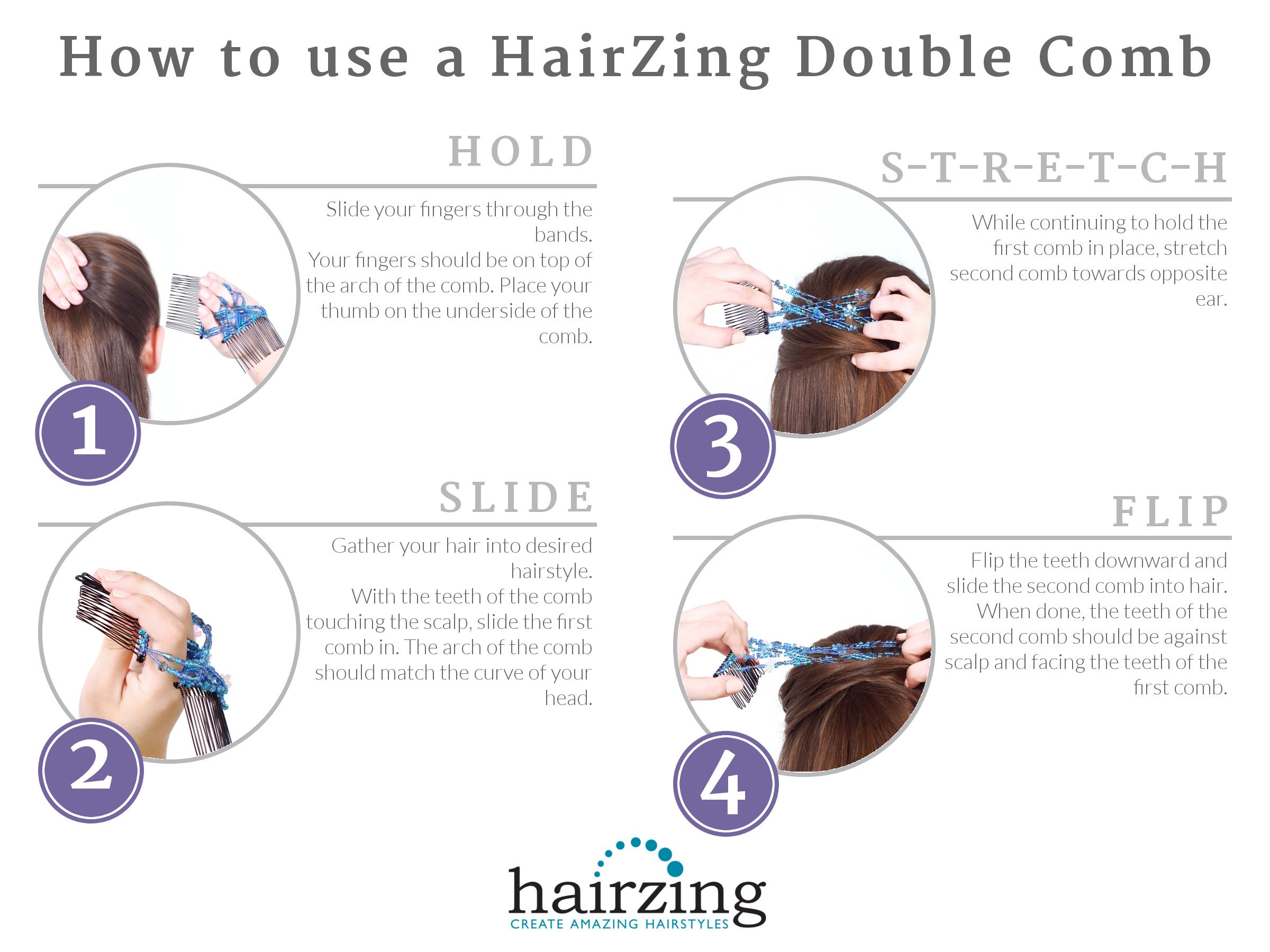 Double Elastic Hair Combs by HairZing - Clip for Thick, Curly, Kinky Hair - Put Your Hair Up in Seconds w/No Damage, Creases, or Pain - Comfy UpDo, Ponytail, French Twist, Bun (Pretzel Medium, Brown) by HairZing (Image #5)