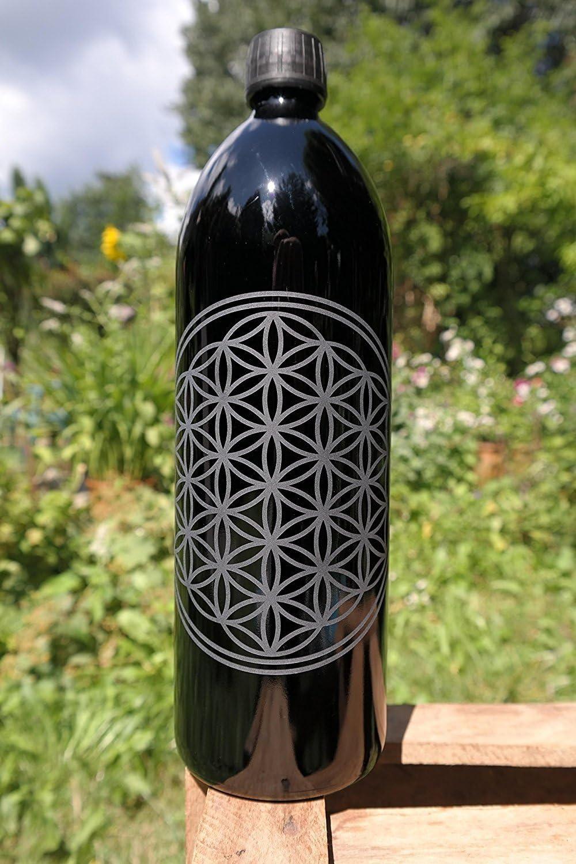 Botella de 1 L, cristal de espejo / cristal ultravioleta, con la flor de la vida.