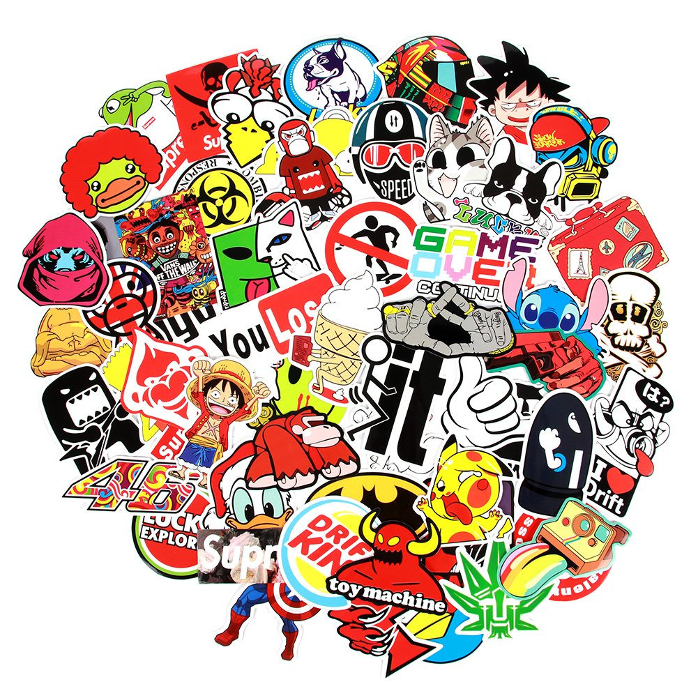 8 Series Stickers 100 pcs//Pack Stickers Variety Vinyl Car Sticker Motorcycle Bicycle Luggage Decal Graffiti Patches Skateboard Stickers for Laptop Stickers for Kid and Adult Series A