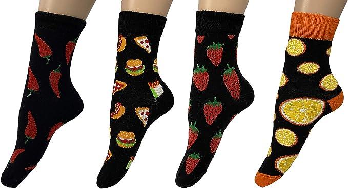 Calcetines para mujer (paquete de 4) increíble precio, alta calidad, 100% algodón, fruta, plátano, maleza, carrera, comida rápida, pizza, hamburguesa, limón, fresa: Amazon.es: Ropa y accesorios
