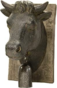 Sagebrook Home 11140 Cow Head W/Bell Wall Plaque, Rust Polyresin, 6 x 4.5 x 7.5 Inches