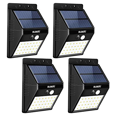 SUAOKI Solar Lights Outdoor Super Bright 28 LED Waterproof Motion Sensor Security Light Detachable Design Wall Light for Deck Patio Yard Backyard Pathway Driveway Garden, Pack of 4