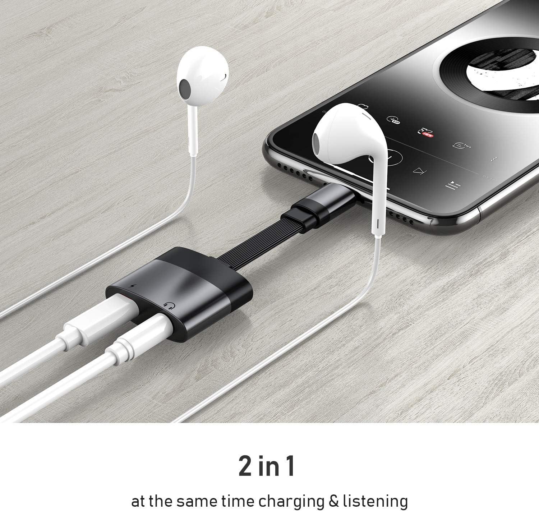 Kopfh/örer Adapter f/ür iPhone X Aux Adapter 3,5mm Klinke Dongle Splitter Audio und Lade Adapter f/ür iPhone 11//8//8P//7//7P//X//XR//XS//XS MAX zubeh/ör Kabel zum Aux Audio Anschluss Unterst/ützung iOS12 Schwarz