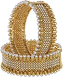 Shining Diva 18K Gold Plated Jewellery Traditional Pearl Bangles for Women