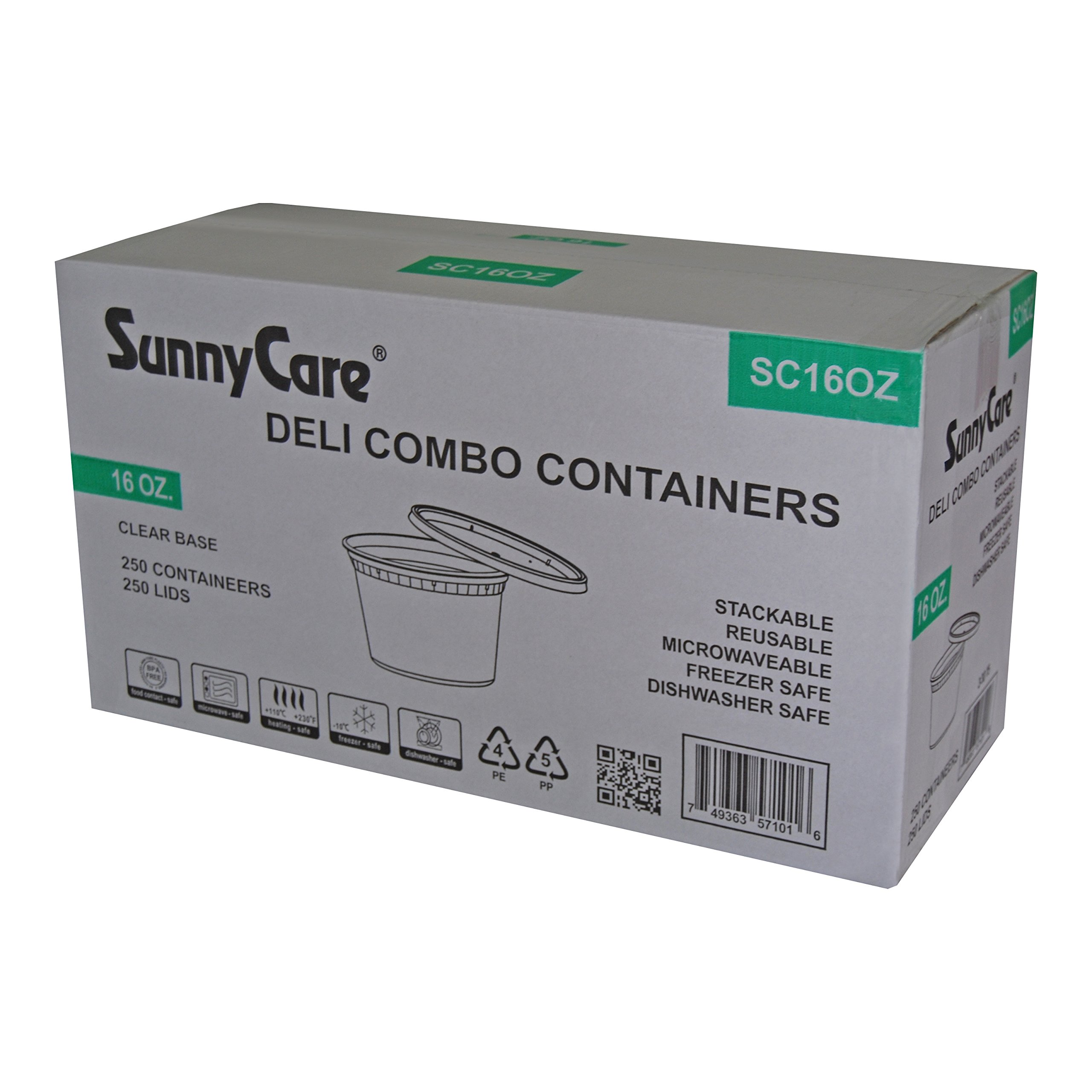 SunnyCare® 16 oz.Microwavable Translucent Plastic Deli Container with Lid -(Case of 250) by SunnyCare
