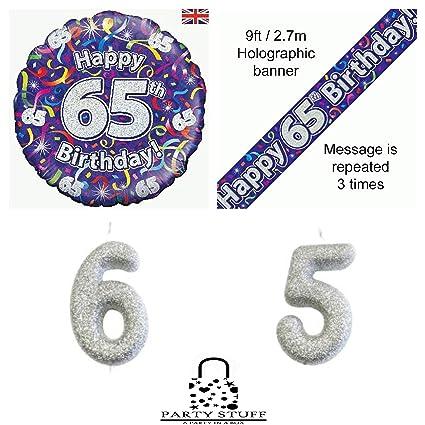 FANCYDRESSCOZ 65 años 65 cumpleaños Brillantes serpentinas ...