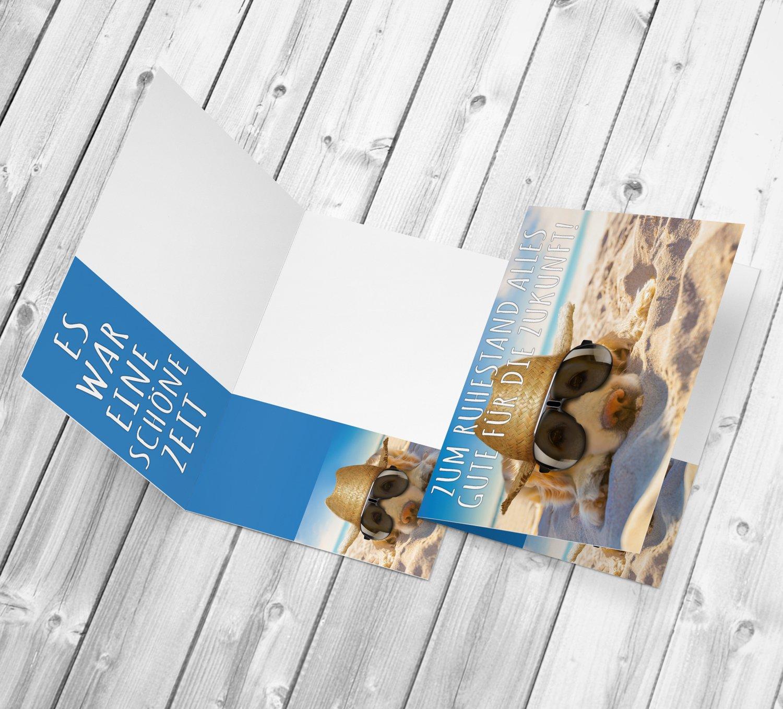 Abschiedskarte zur Rente Pension Ruhestand Karte f/ür Kollegen Mitarbeiter Chef von BREITENWERK A4 XXL Ruhestandskarte HUND AM STRAND mit Umschlag