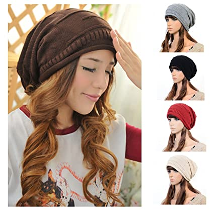 Image Unavailable. Image not available for. Color  Unisex Winter Plicate  Baggy Beanie Knit Crochet Ski Hat Oversized Cap Hat Warm ... fd92c3ecf282