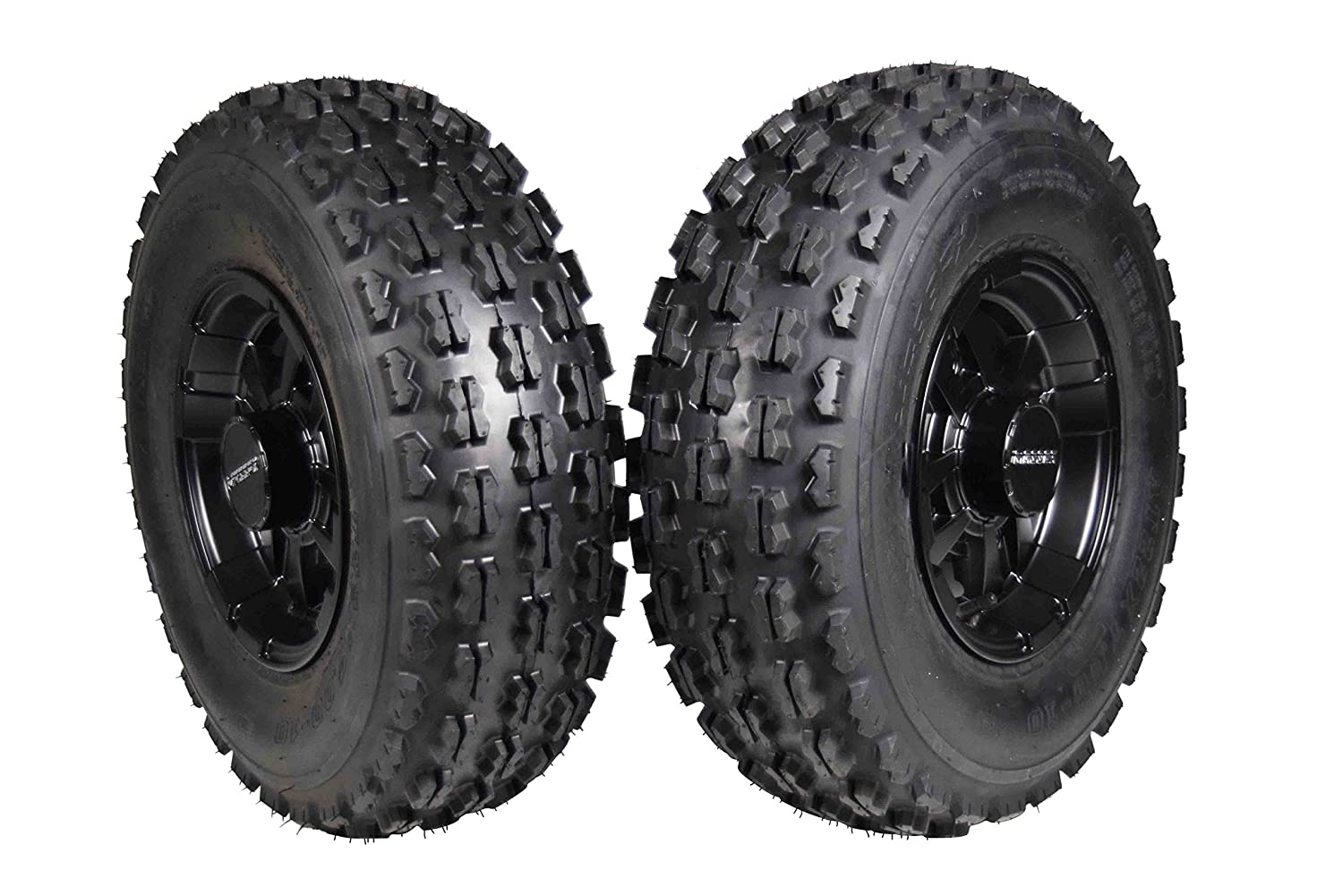 HONDA FRONT 22x7-10 MASSFX TIRE WITH BLACK MASSFX 10x5 4/144 RIM 2 PACK