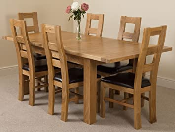 MODERN FURNITURE DIRECT Seattle Extending Kitchen Solid Oak Dining Table 6 Leather Chairs