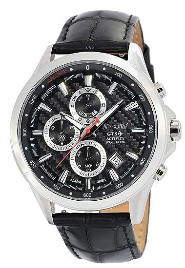 NYSW - Reloj Inteligente híbrido clásico de Lujo, Correa de Piel Italiana – Cristal de